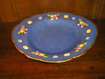 VINTAGE Crown Staffordshire POWDER BLUE PLATE/DISH decorated FRUIT - 23.5cms