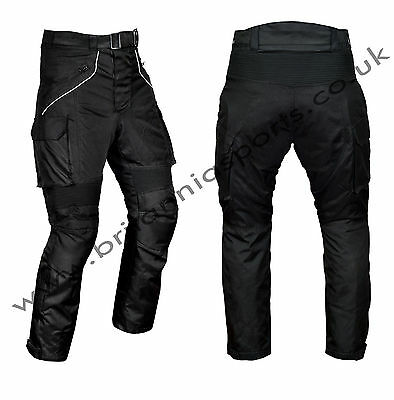 Mens Motorcycle Waterproof Black Trousers CE Armoured Motorbike Textile Pants