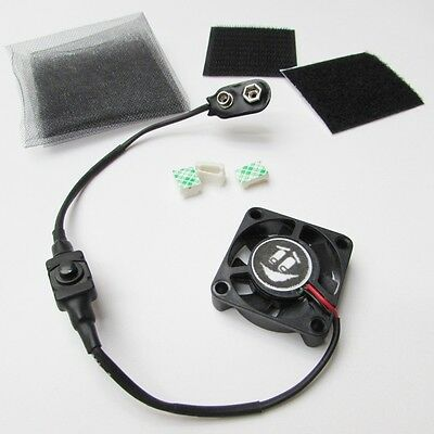 """1.5"""" TINY COOLING FAN KIT for Airsoft Mask Paintball Helmet 9 volt Battery power"""
