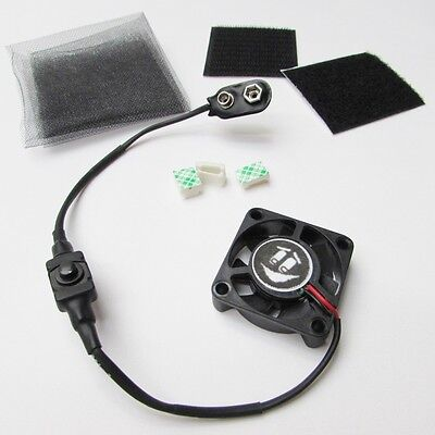 40mm Airsoft Mask & Paintball Helmet Tiny Cooling Fan Kit 9V Battery Operated