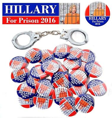 Wholesale HILLARY FOR PRISON 2016 Lot 25 BUTTONS & FREE Bumper Sticker!