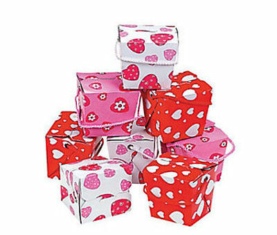 18 Heart Valentine's Day Boxes with Rope Handles Gift Party Favor Loot Treat