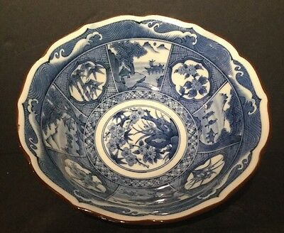 Vintage Japanese Blue And White Hand Painted Bowl Signed by Artist