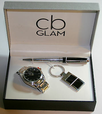 Brand New CB Glam Gents Gift Set Included is Watch, Pen, & Keyring