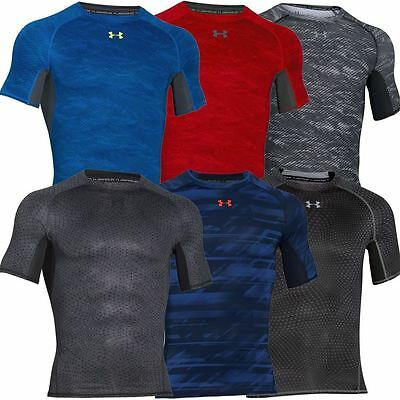 Under Armour 2016 Mens HG Armour Printed SS Compression Shirt BaseLayer