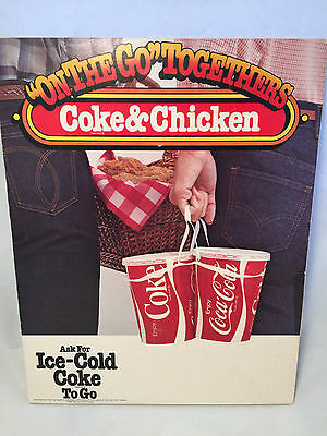 1981 RARE Coca-Cola Triangle Hanging Sign Coke & Chicken On the Go Togethers
