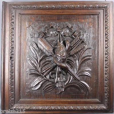 Antique French Carved Wood  Architectural Panel Door hunting