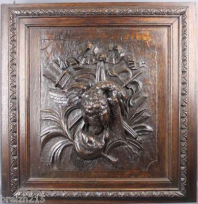 Antique French Carved Wood Architectural Panel Door Hunting scene