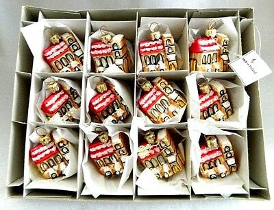 12 NEW-Small Bronze Snowy Church-Feather tree Glass Gift/Craft Ornaments-Poland
