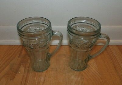 "Set of 2 Coca-Cola Coke Glass Mugs with Handles & Green Tint 6 1/4"" Tall"