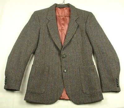 Vtg 1980's Cotler Men's Blazer Sport Coat Blue Grey Striped 36 VGUC