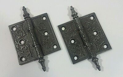 "Antique Vintage Set Victorian 3-1/2"" x 3-1/2"" Steeple Pin Door Hinges Restored • CAD $76.21"