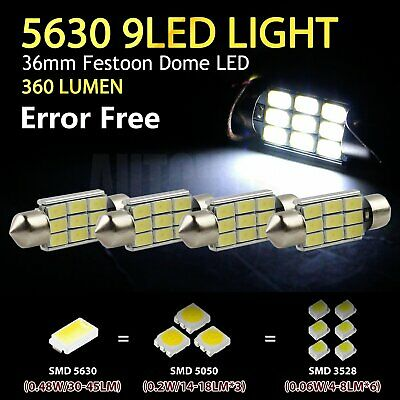 4 x 36mm 5630 9 SMD Canbus Festoon LED Car Interior Roof Dome Light Bulbs 12V
