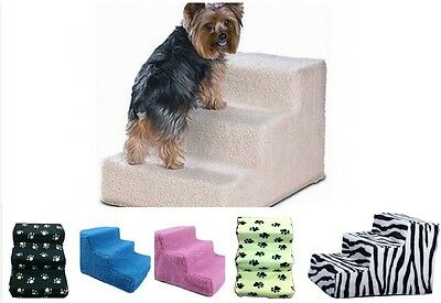 Cat Stairs 3-Steps Soft Covered Pet Leisurely Staircase Indoor Dog Multi-Color