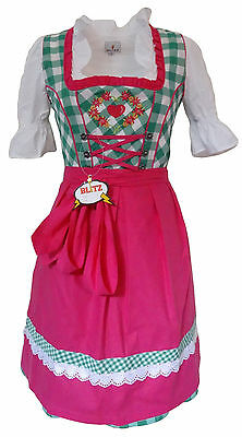 Women's Blitz Dirndl Dress German Heritage Oktoberfest Costume Pink Green Med 42