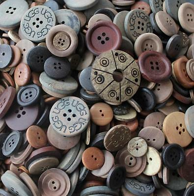Mixed Assorted Retro Old Wooden Buttons Art Craft Sewing Scrapbook Buttons
