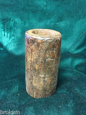 Early Primitive Solid Wood Mortar ~ One Piece Hand carved