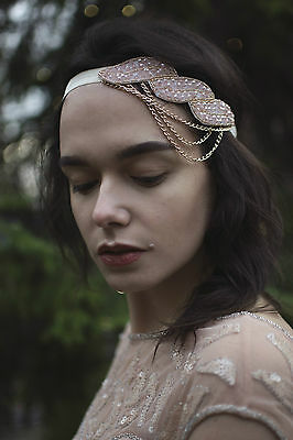 Pink Gold Beaded Chain Headpiece 1920s Vintage Great Gatsby Flapper Headband V03