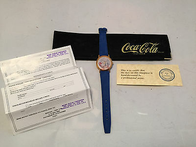 1980's Coca-Cola Cat Drinking Coke Wristwatch Watch Leather Band in Case