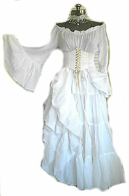 White Renaissance Costume Wedding Gown Dress Corset Chemise Pirate Medieval LARP