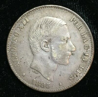 1885 Alfonso 50 centavos Spain-Philippines Silver Coin - lot 12