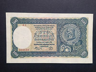 Slovakia 100 Korun P11 Issued Note 2nd Emisia A1 Prefix Dated 1940 UNC