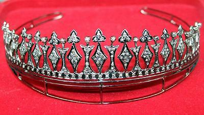 Antique Look 9.45 Ct Rose Cut Diamond Sterling Sliver Victorian Princess Tiara