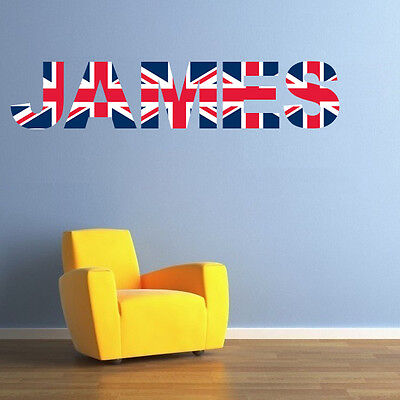 UNION JACK letter name wall stickers (3 sizes available & PRE-CUT)