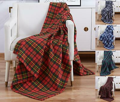 Soft Warm Single Double Tartan Check Sofa Throw Bed Fleece Travel Car Blanket