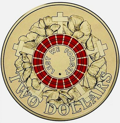 Royal Australian Mint 2015 $2 Coin Red Anzac Coin Uncirculated Limited Stock ✔️