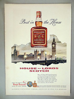 House of Lords Scotch Whiskey PRINT AD - 1954 ~~ London, Big Ben
