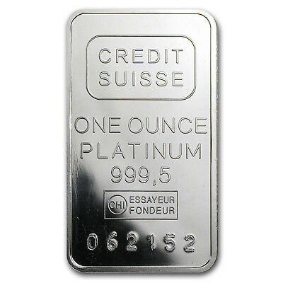 1 oz Platinum Bar - Secondary Market (.999+ Fine) - SKU #61