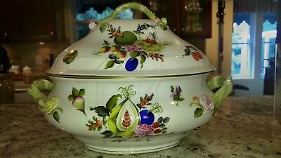 Herend Vintage Tureen  Painted in the BFR Fruits and Flowers. Large #1002