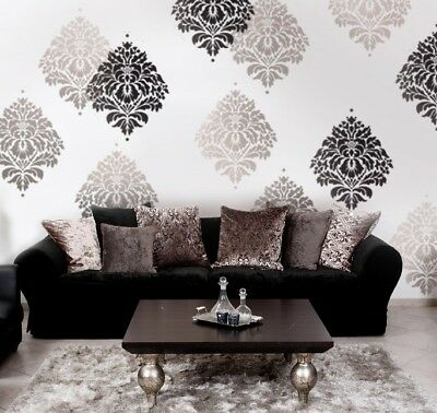 BIRDS OF PARADISE Damask Stencil - Wall Pattern Stencils for