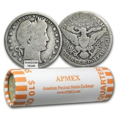 90% Silver Barber Quarters - $10 Face Value Roll - 90 Percent Silver