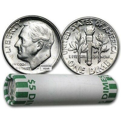 90% Silver Roosevelt Dimes - $5 Face Value Roll - BU - 90 Percent Silver