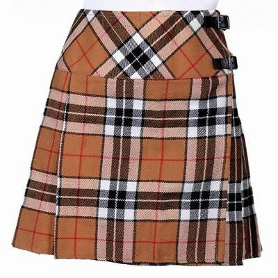 New Ladies Thomson Camel Tartan Scottish Mini Billie Kilt Mod Skirt Sizes 6 -22