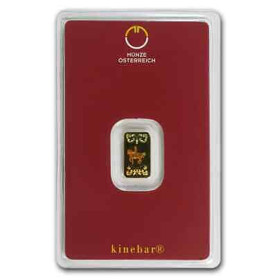 1 gram Gold Bar - Austrian Mint Kinebar Design (In Assay) - SKU #78373