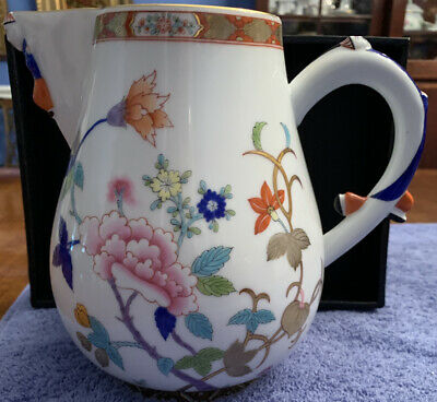 Herend Shanghai Hand Painted Large Milk Jug Artist Signed, Rare Beauty
