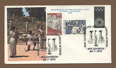 Orig.First Day Cover   Olympic Games MÜNCHEN 1972 / TORCH RUN OLYMPIA TO MÜNCHEN