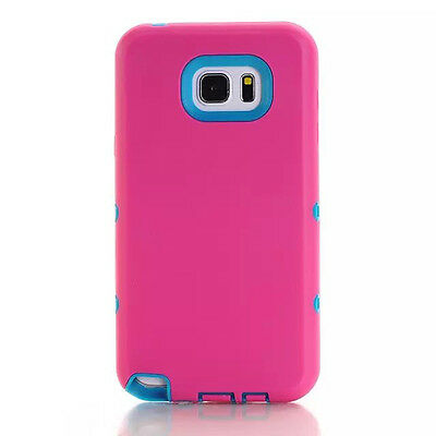 Covdo Hot Pink/Blue Shockproof Tough Rubber Hard Case For Samsung Galaxy Note 5
