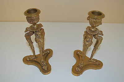 """7 1/2"""" High Old Pair Of European Bronze Candlesticks With Stylized Eagles"""