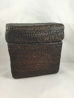 Antique Chinese Woven Storage Box 7 Inches