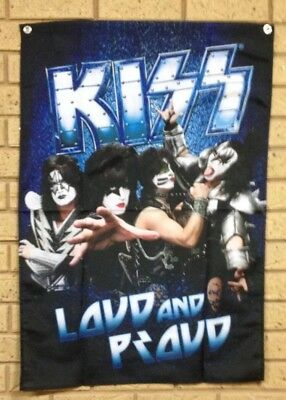 KISS Band Wall FLAG FABRIC TEXTILE POSTER NEW Loud And Proud Pool Room New