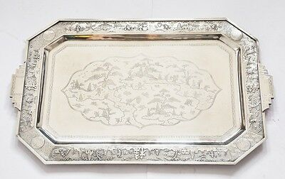1092 GRAMS 48X29 CM INDO CHINA CHINESE EXPORT SILVER TRAY 20TH Century