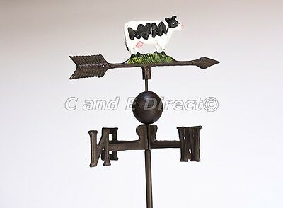 Cast Iron Cow Farmyard Weathervane Weather Vane With Hanging Bracket NEW