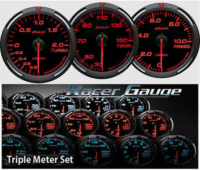 DEFI Racer Gauge Triple Gauge Set 60mm Red (Boost/Temp/Press)