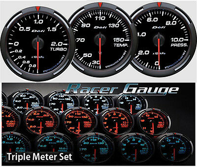 DEFI Racer Gauge Triple Gauge Set 60mm White (Boost/Temp/Press)