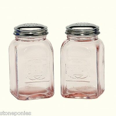 New Pink Depression Style Glass Salt and Pepper Shakers Embossed Retro