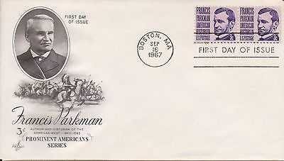 (USP-9) 1967 USA FDC 3c joined pair Francis Parkman (H)